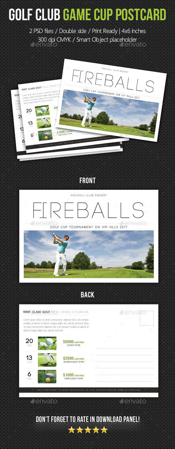 Golf Club Game Cup Postcard V03 - Cards & Invites Print Templates