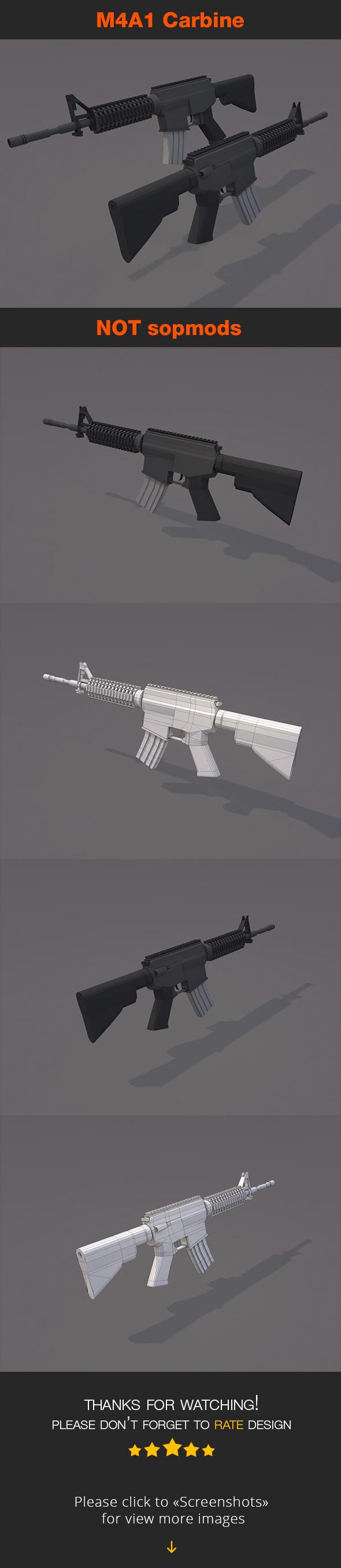 M4A1 Carbine NOT sopmods - 3DOcean Item for Sale