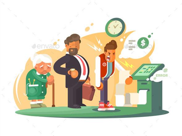 Bad Service at Bank - People Characters