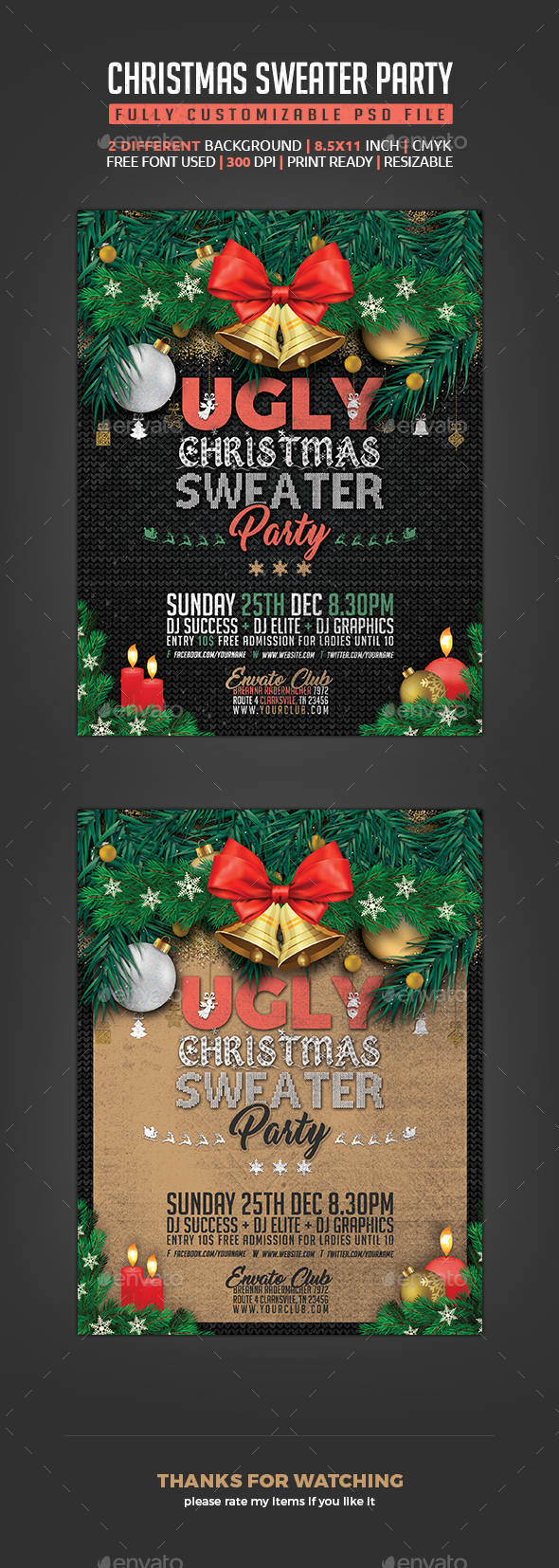 Ugly Sweater Christmas Flyer - Clubs & Parties Events