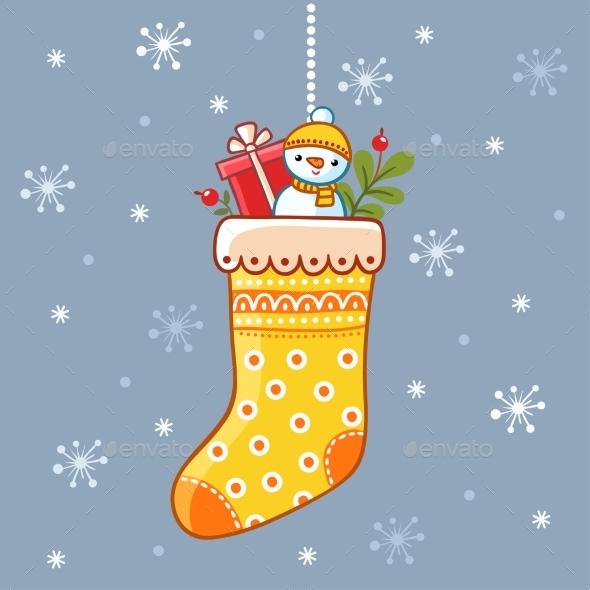 Christmas Sock with Presents Inside - Christmas Seasons/Holidays