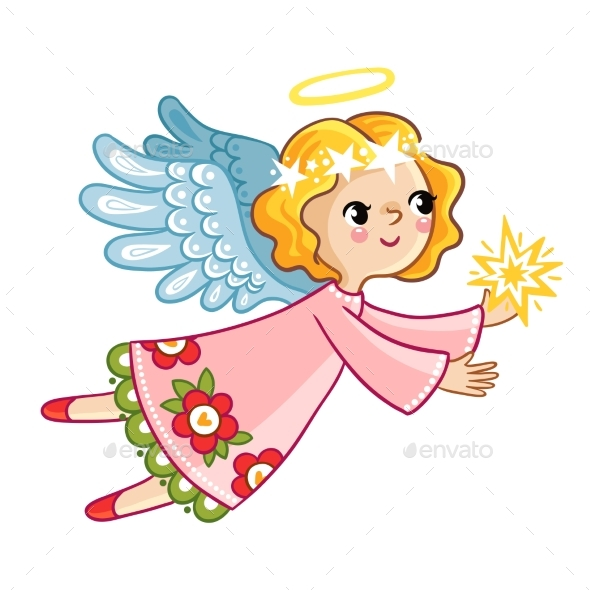 Flying Angel with Wings Holding Star - Christmas Seasons/Holidays