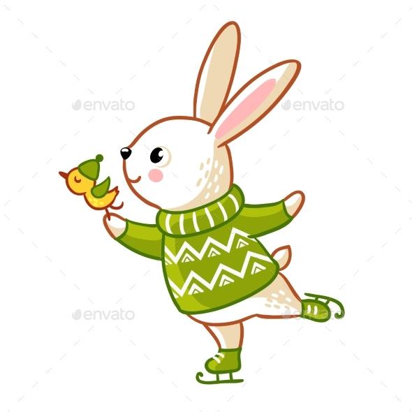 Hare in Sweater Skates - Christmas Seasons/Holidays