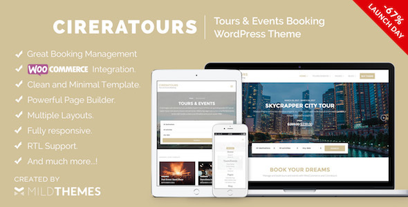 Cireratours – Tours/Events Booking WordPress Theme