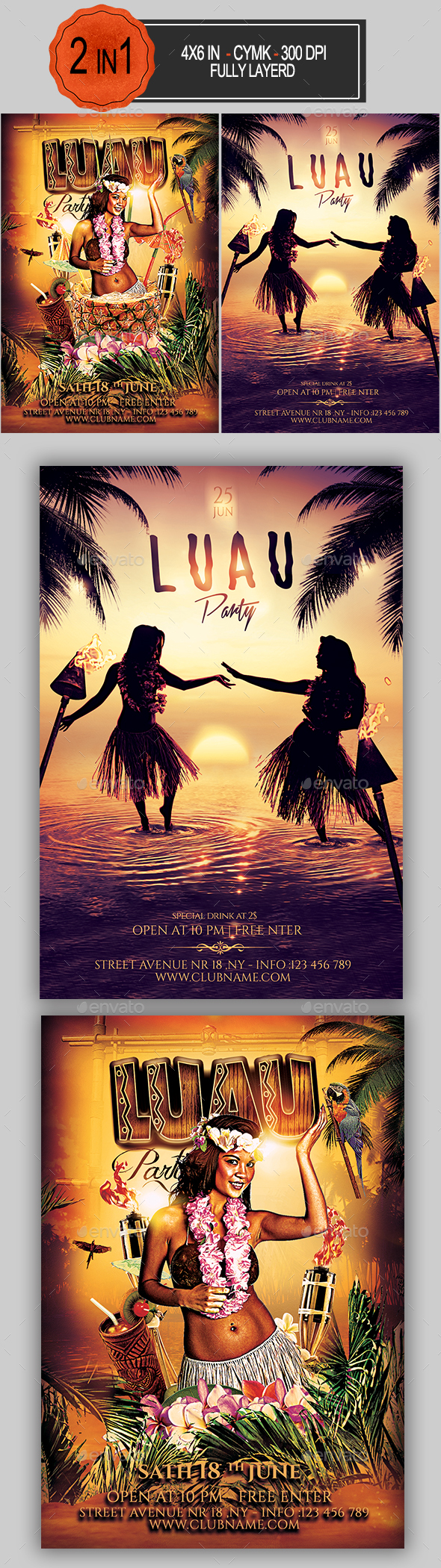 Luau Flyer Bundle - Clubs & Parties Events