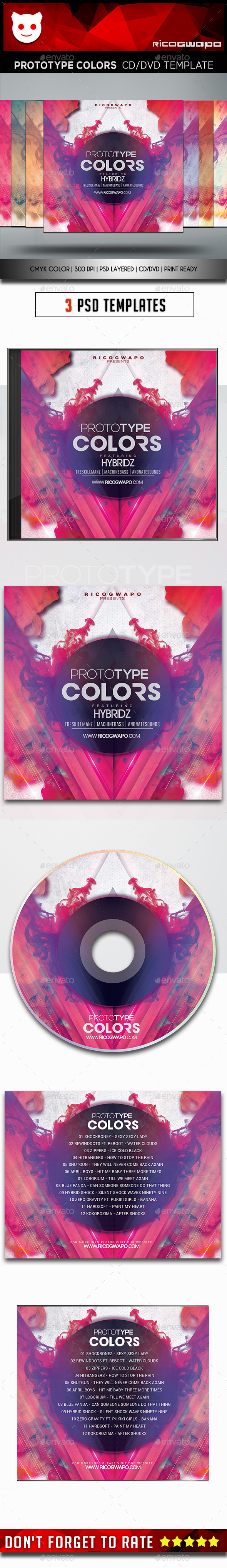 Prototype Colors Cd/DVD Template - CD & DVD Artwork Print Templates