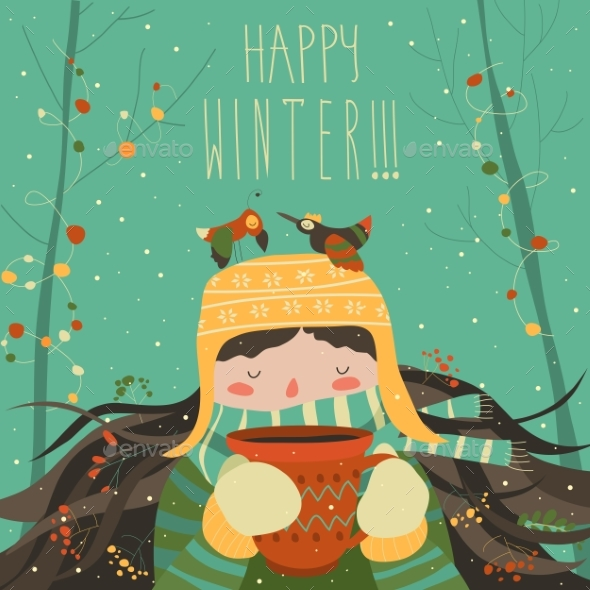Winter Cartoon Girl with Coffee - New Year Seasons/Holidays
