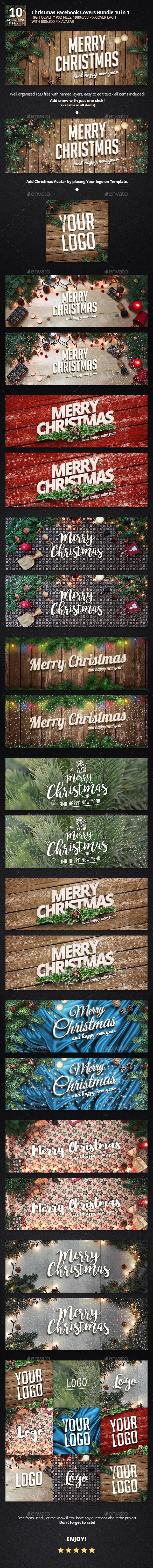 Christmas Facebook Bundle 10 in 1 - Facebook Timeline Covers Social Media