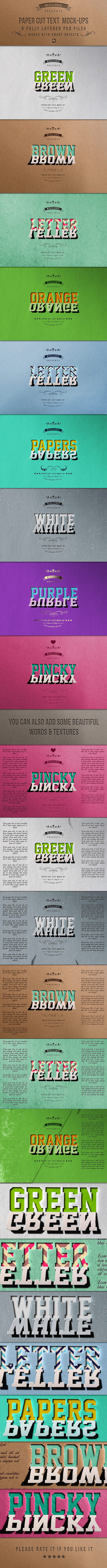 Paper Cut Text Mock-Ups - Text Effects Actions