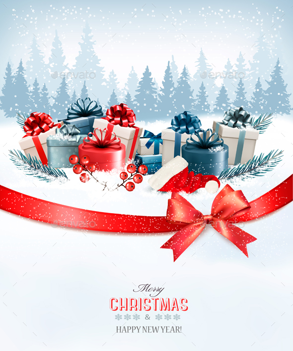 Holiday Christmas Background With A Gift Boxes. Vector - Christmas Seasons/Holidays
