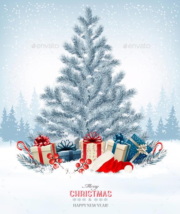 Christmas Holiday Background With Presents And Tree. Vector - Christmas Seasons/Holidays