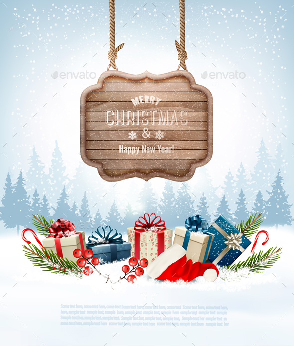Christmas Background With A Retro Wooden Sign. Vector - Christmas Seasons/Holidays