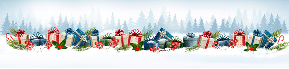 Holiday Christmas Background With A Gift Boxes Vector. - Christmas Seasons/Holidays