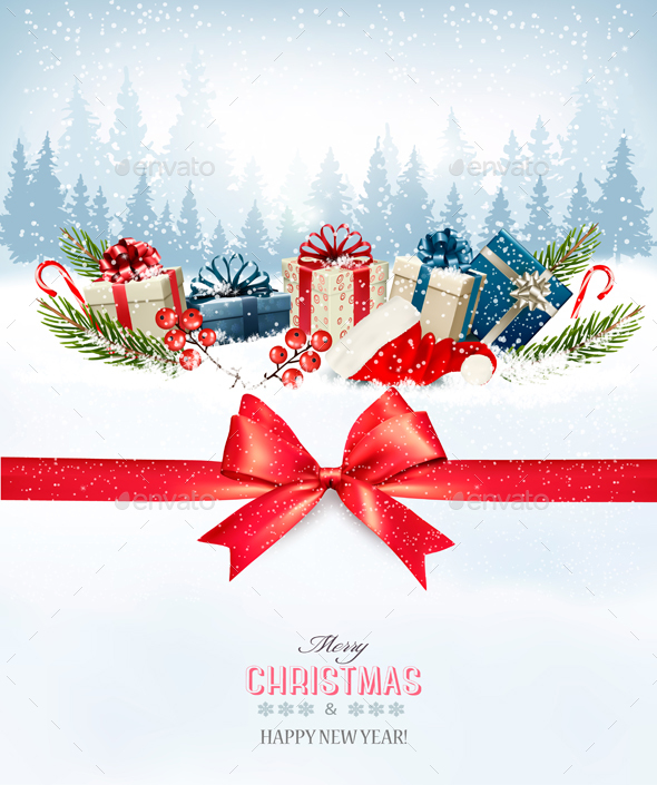Holiday Christmas Background With A Gift Boxes - Christmas Seasons/Holidays