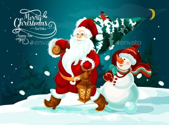Santa and Snowman with Xmas Tree and Gifts Card - Christmas Seasons/Holidays