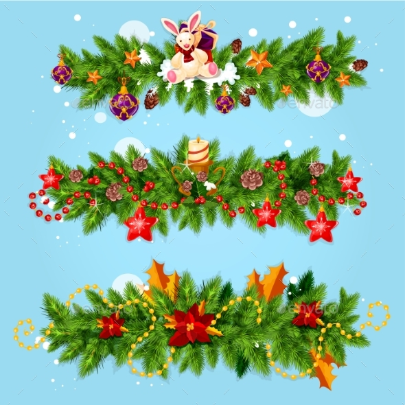 Christmas Garland for Xmas Greeting Card Design - Christmas Seasons/Holidays