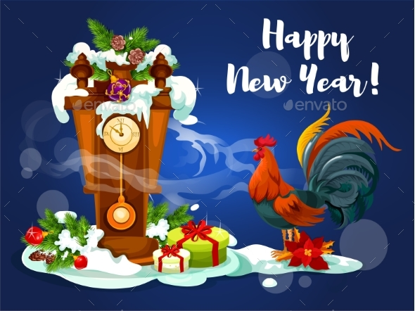 Chinese New Year Rooster with Clock - New Year Seasons/Holidays