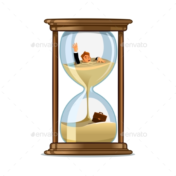 Businessman in Hourglass. Deadline Concept Design - Concepts Business