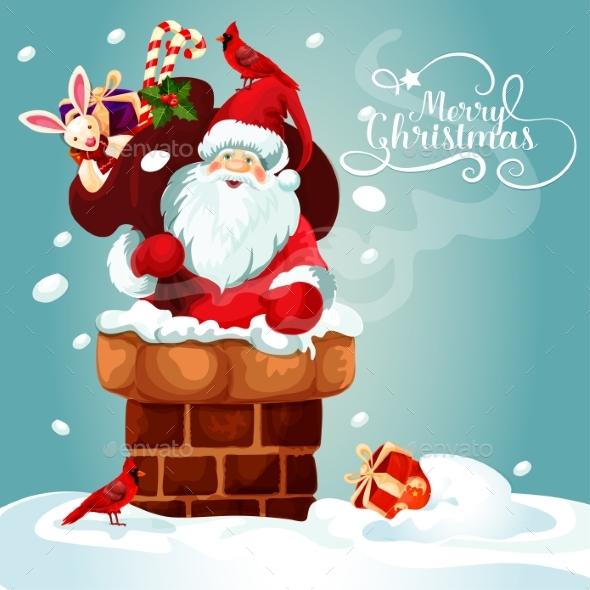 Christmas Card of Santa with Gift Bag on the Roof - Christmas Seasons/Holidays