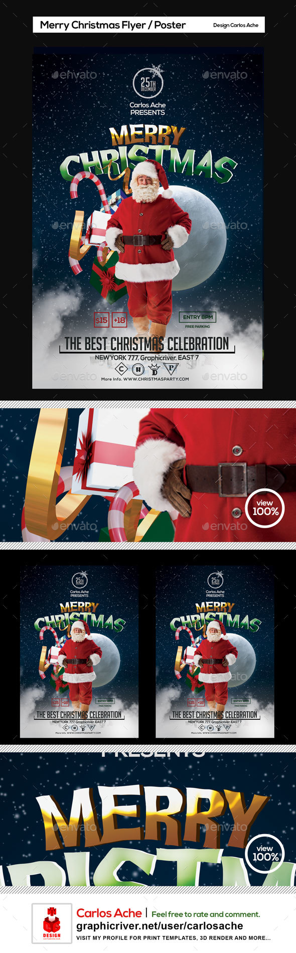 Merry Christmas Flyer and Poster Template - Holidays Events