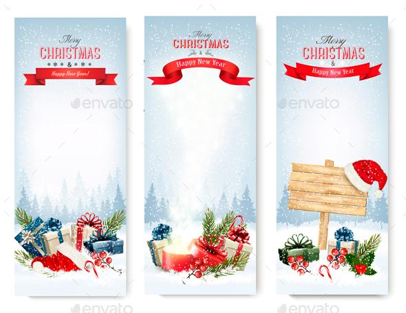 Three Christmas Banners With Presents. Vector. - Christmas Seasons/Holidays