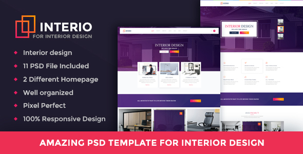 Interio - Interior Design, Architecture Business Psd Template - Corporate PSD Templates