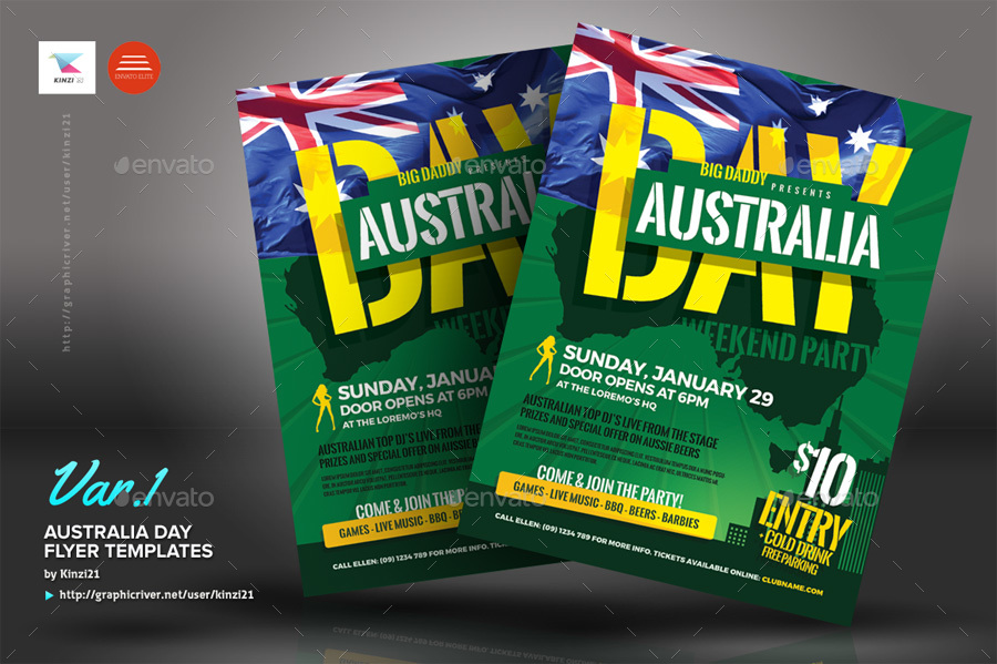 australia day flyer templates by kinzi21 graphicriver