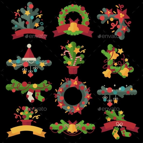A Set of Christmas Design Elements in Flat Style. - Christmas Seasons/Holidays