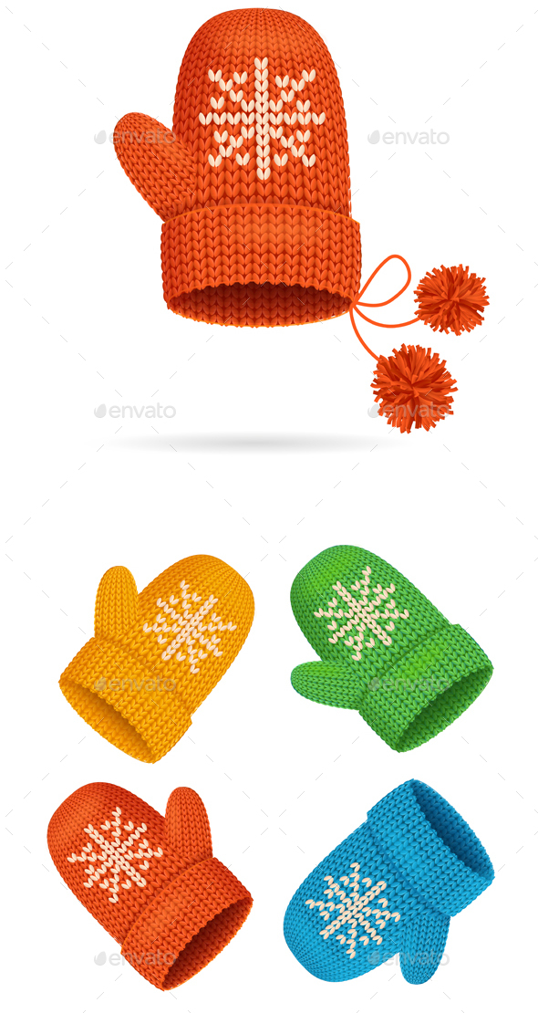 Winter Mittens Colorful Set. Vector - Objects Vectors