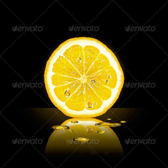 Lemon Slice On Black Background - Food Objects