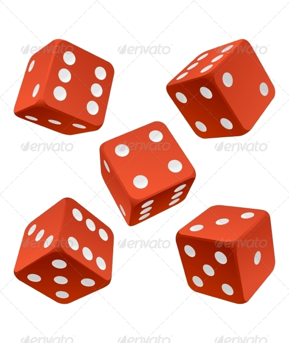 Red dice set. Vector icon - Man-made Objects Objects