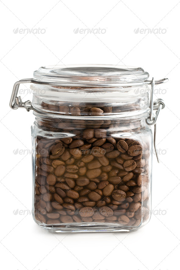coffee beans in glass jar - Stock Photo - Images