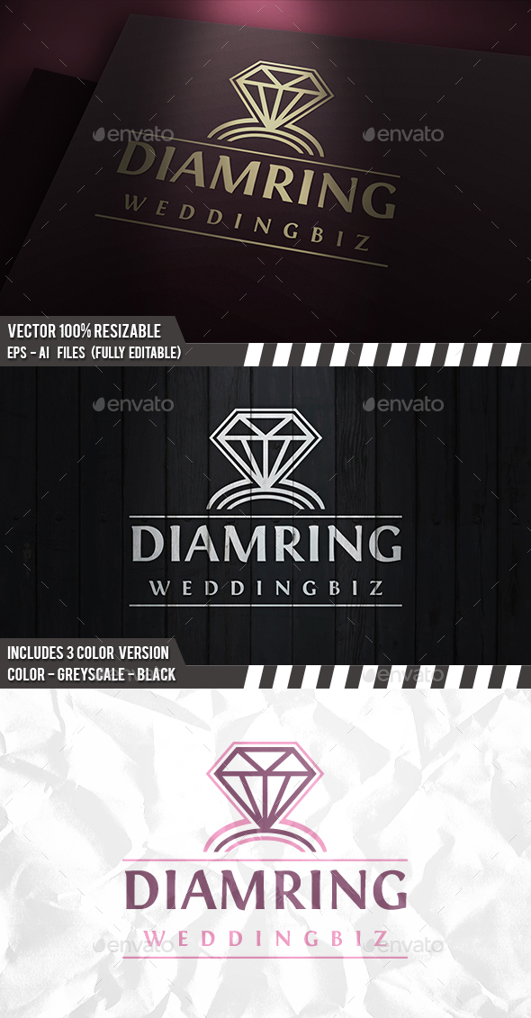 Wedding Ring Logo - Vector Abstract