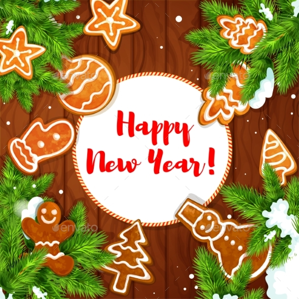 Cookies and Pine on Wooden Background - New Year Seasons/Holidays