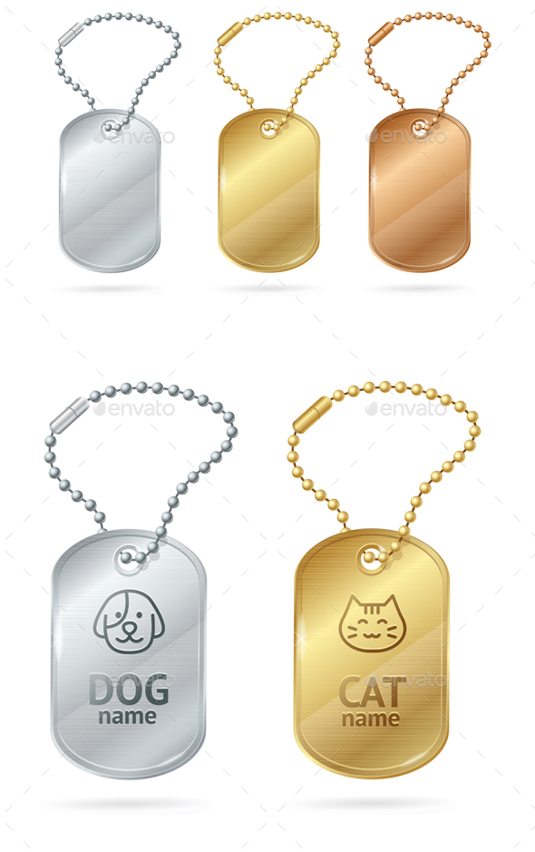Cat Dog Animal Tags or Medallion. Vector - Objects Vectors