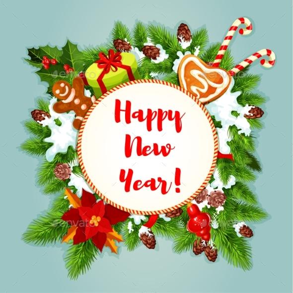 New Year Greeting Card or Poster - New Year Seasons/Holidays