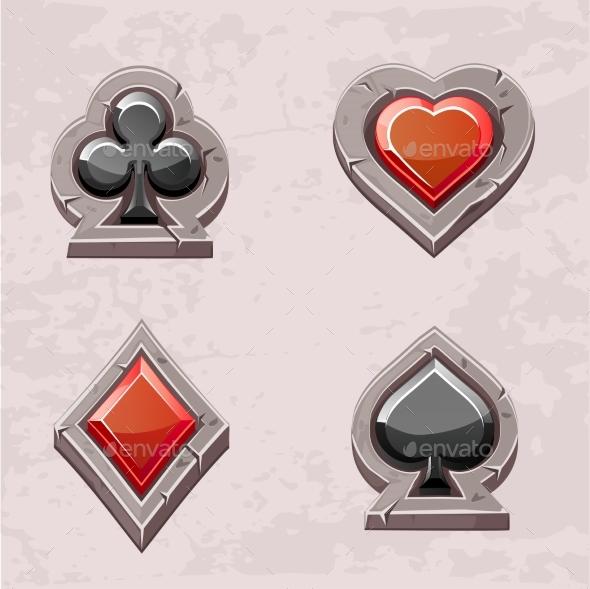 Card Suit, Poker Icons Stone Texture - Decorative Symbols Decorative
