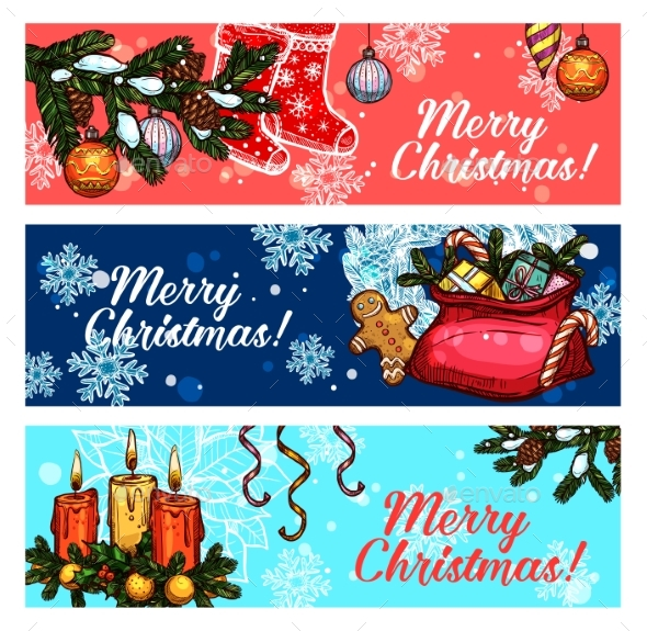 Christmas and New Year Festive Banner Set - Christmas Seasons/Holidays