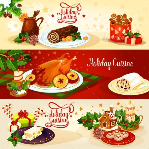 Christmas Holiday Cuisine Banner for Menu Design - Christmas Seasons/Holidays