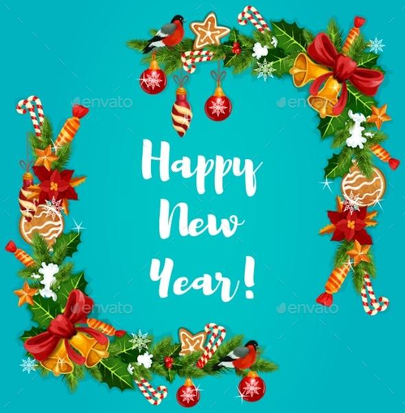 New Year Tree, Holly and Garland Frame - New Year Seasons/Holidays