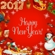 New Year Poster with Vector Holiday Symbols