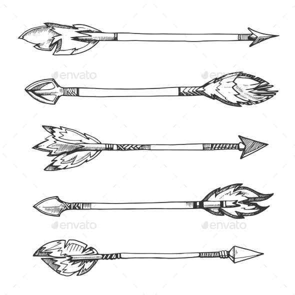 Tribal Indian Arrows. Vector Hand Drawn Decorative - Objects Vectors