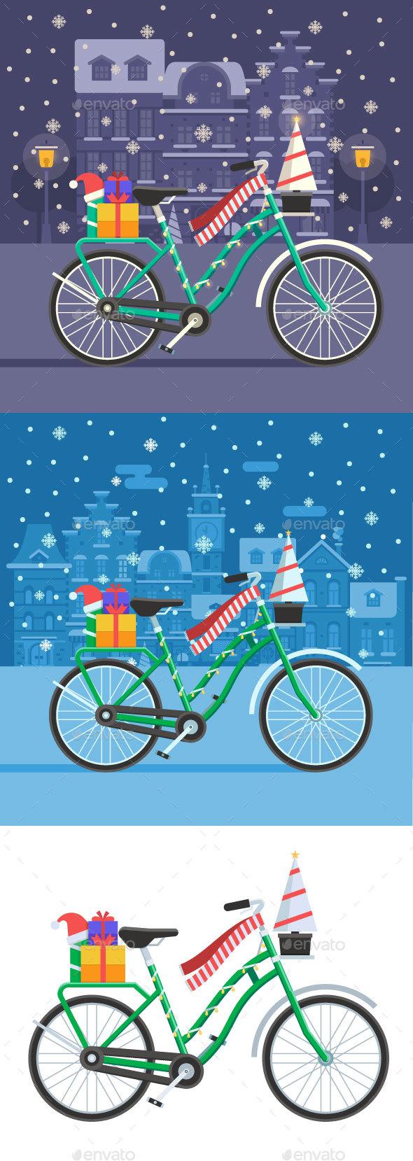2 Christmas Bike Backgrounds - Seasons/Holidays Conceptual