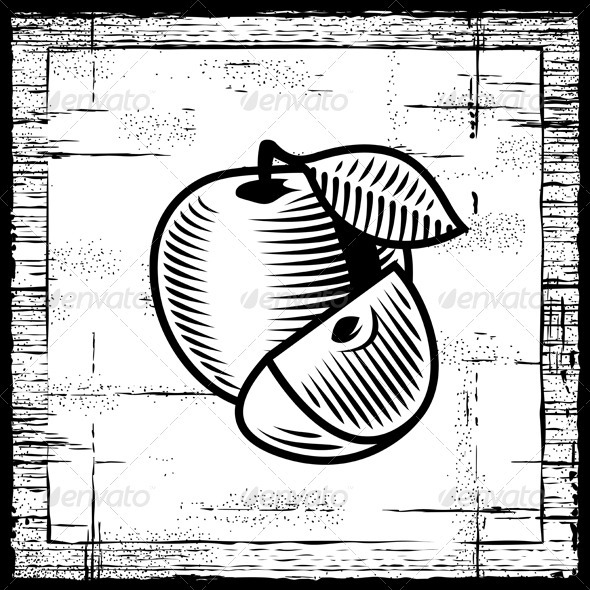 Retro Apple Black And White - Food Objects