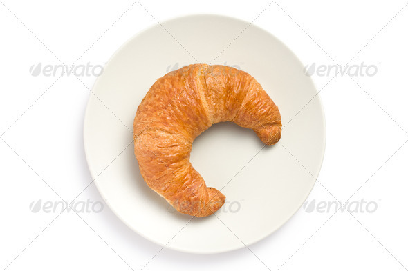 fresh croissant on plate - Stock Photo - Images