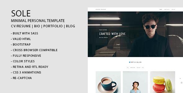 Sole | Minimal CV/Resume, Bio, Portfolio, Blog