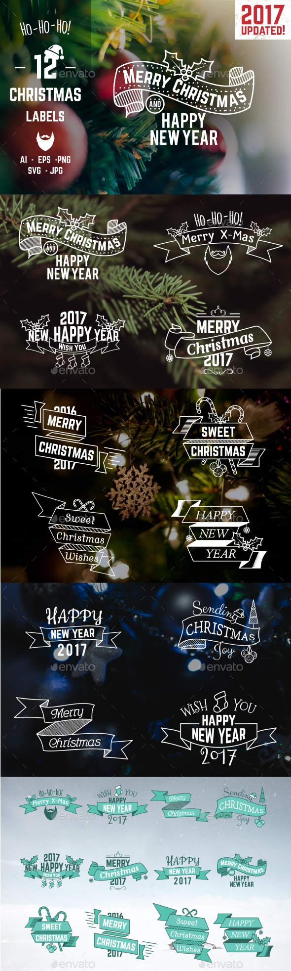Christmas & New Year Labels & Badges - Badges & Stickers Web Elements
