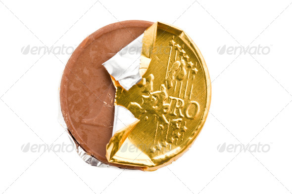 chocolate coin - Stock Photo - Images
