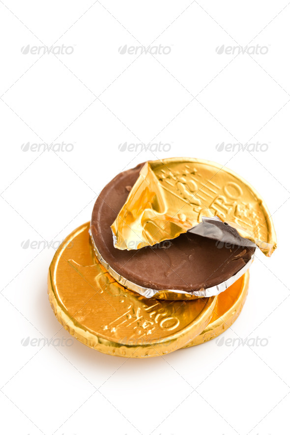 euro currency . chocolate coins - Stock Photo - Images