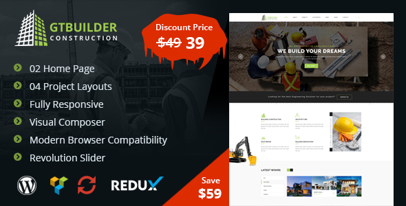 GTBuilder – Construction & Building WordPress Theme